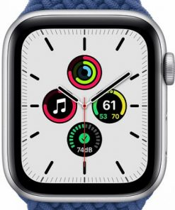 Apple Watch Series SE 44mm Silver Aluminum Case with Atlantic Blue Braided Solo Loop MYE12.